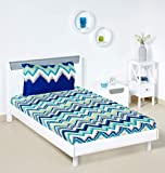 Amazon Brand - Solimo Abstract Waves 144 TC 100% Cotton Single Bedsheet with 1 Pillow Cover, Green
