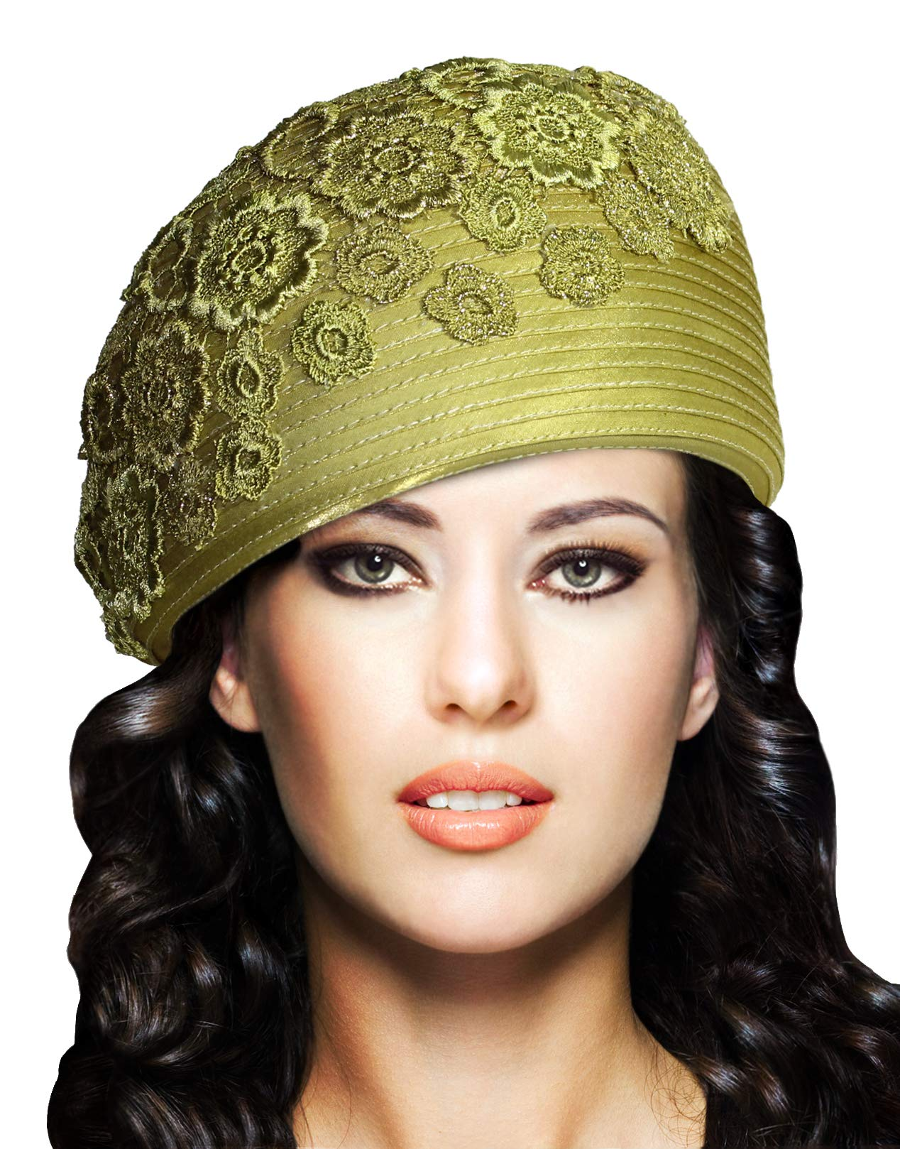 Mr. Song Millinery Beret Cloche Hat with Premium Lace - Q62 (Celery)