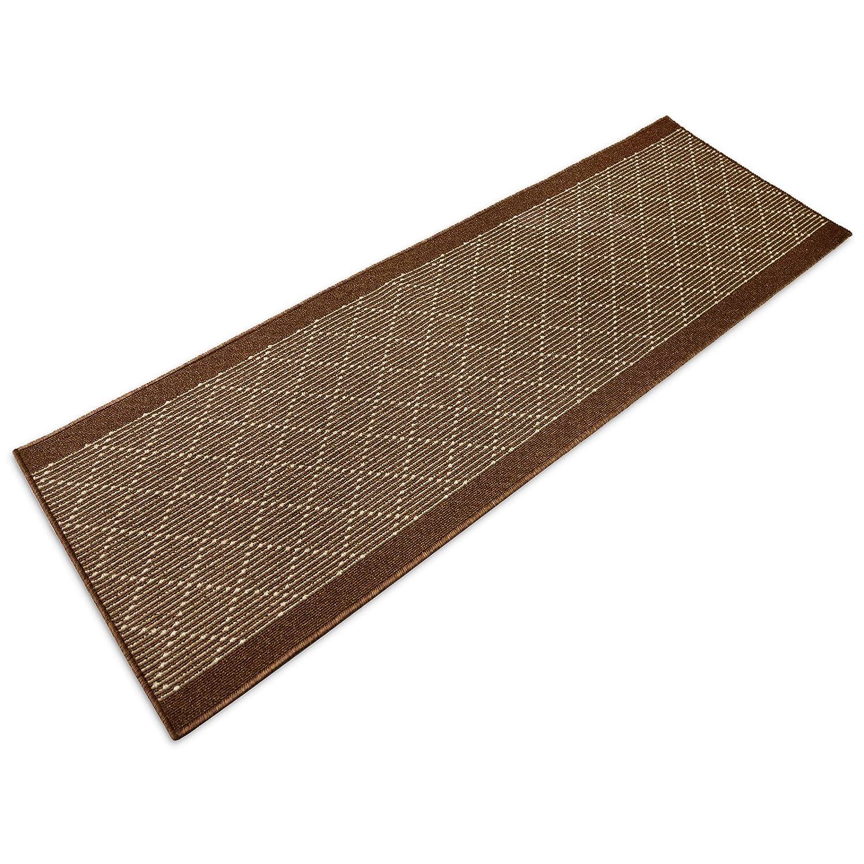 casa pura® Boulevard Modern Striped Flat Weave Hall/Kitchen Runner Rug 67x100cm | Non-Slip Gel Backing, Brown