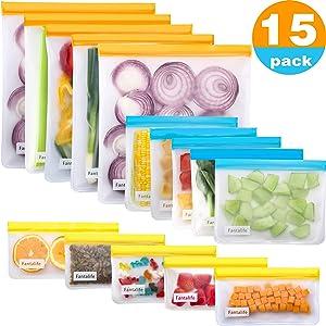 Fantalife Reusable Storage Bags - 15 Pack Reusable Ziplock Bags BPA FREE - 5 Leakproof Reusable Food Storage Bags + 5 Reusable Sandwich Bags Washable + 5 Reusable Snack Bags - Lunch Bags for Food