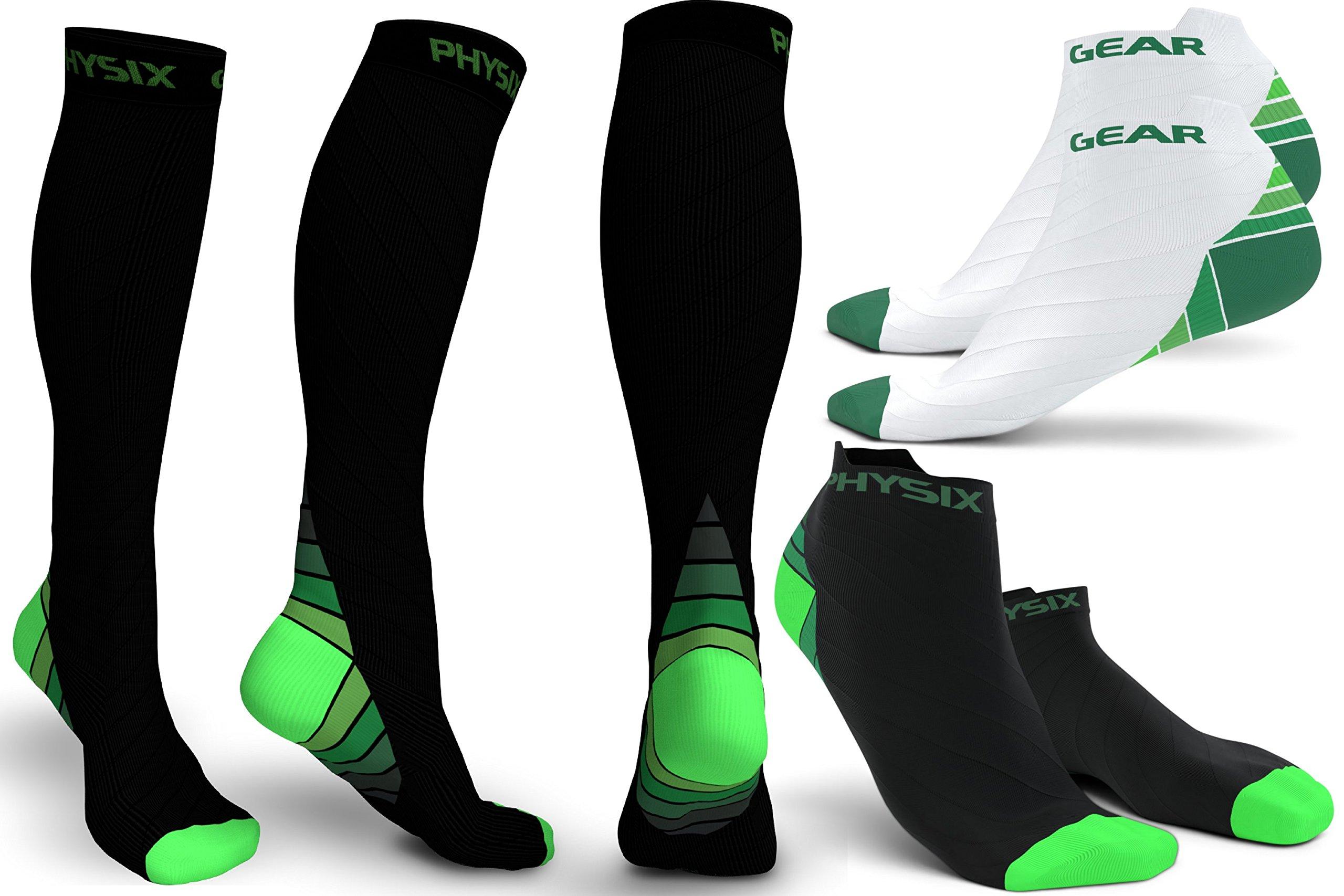3 Pack Compression Socks for Men & Women 20-30 mmhg, Best Graduated Athletic Fit for Running Nurses Shin Splints Flight Travel & Maternity Pregnancy - Boost Stamina Circulation & Recovery GRN LXL