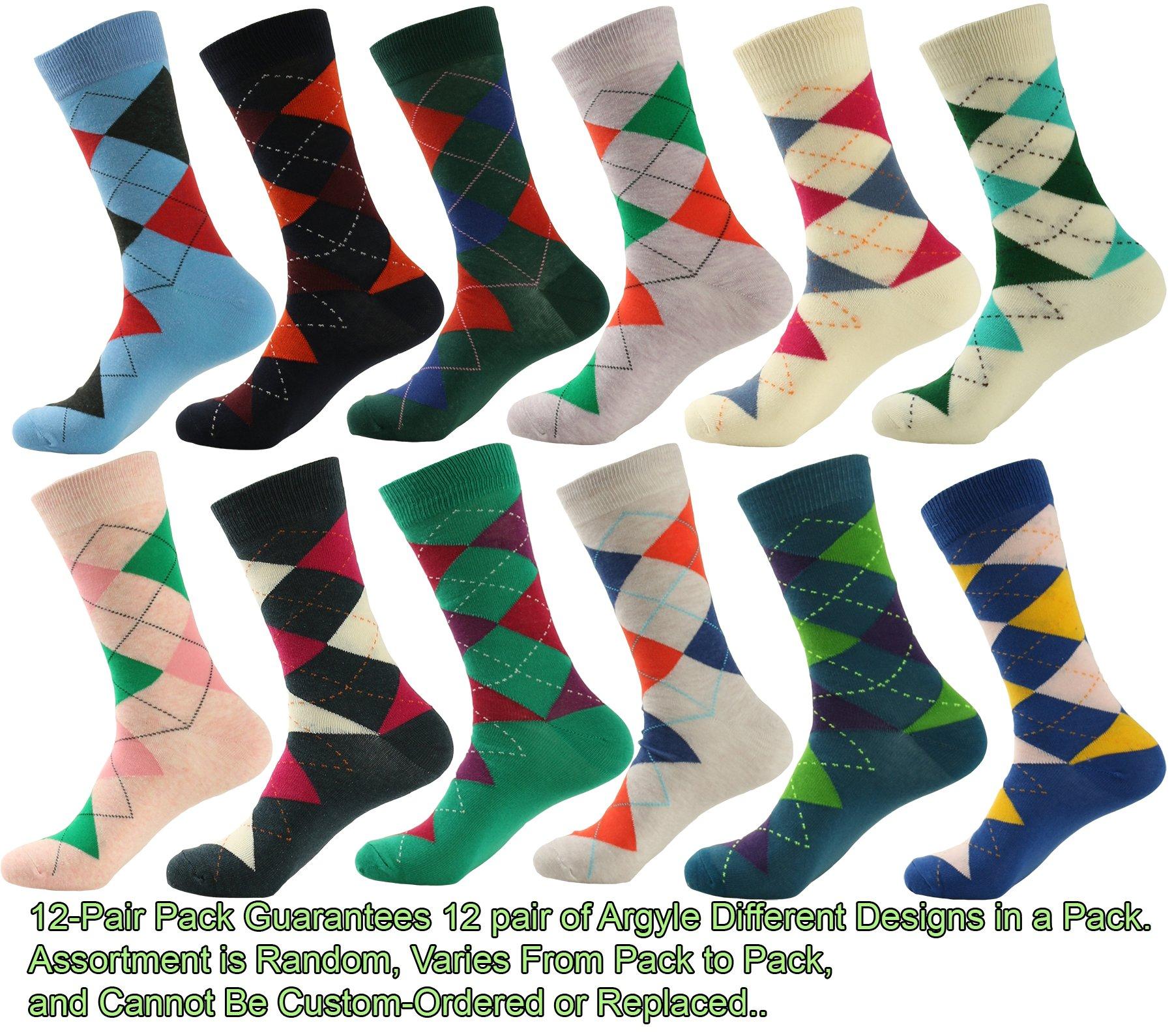Mens Designer Dress Socks 12 Pair - Argyle
