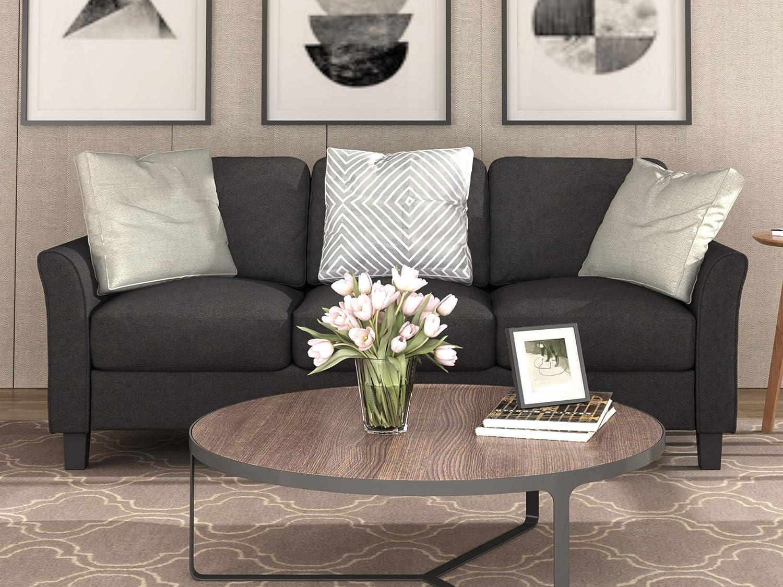 Harper&Bright Designs 3-Seat Sofa Living Room Linen Fabric Sofa Upholstered Sofa with Cushion Back (Black)