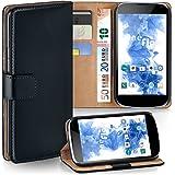 OneFlow Tasche für LG Google Nexus 4 Hülle Cover mit Kartenfächern | Flip Case Etui Handyhülle zum Aufklappen | Handytasche Schutzhülle Zubehör Handy Schutz Bumper in Schwarz