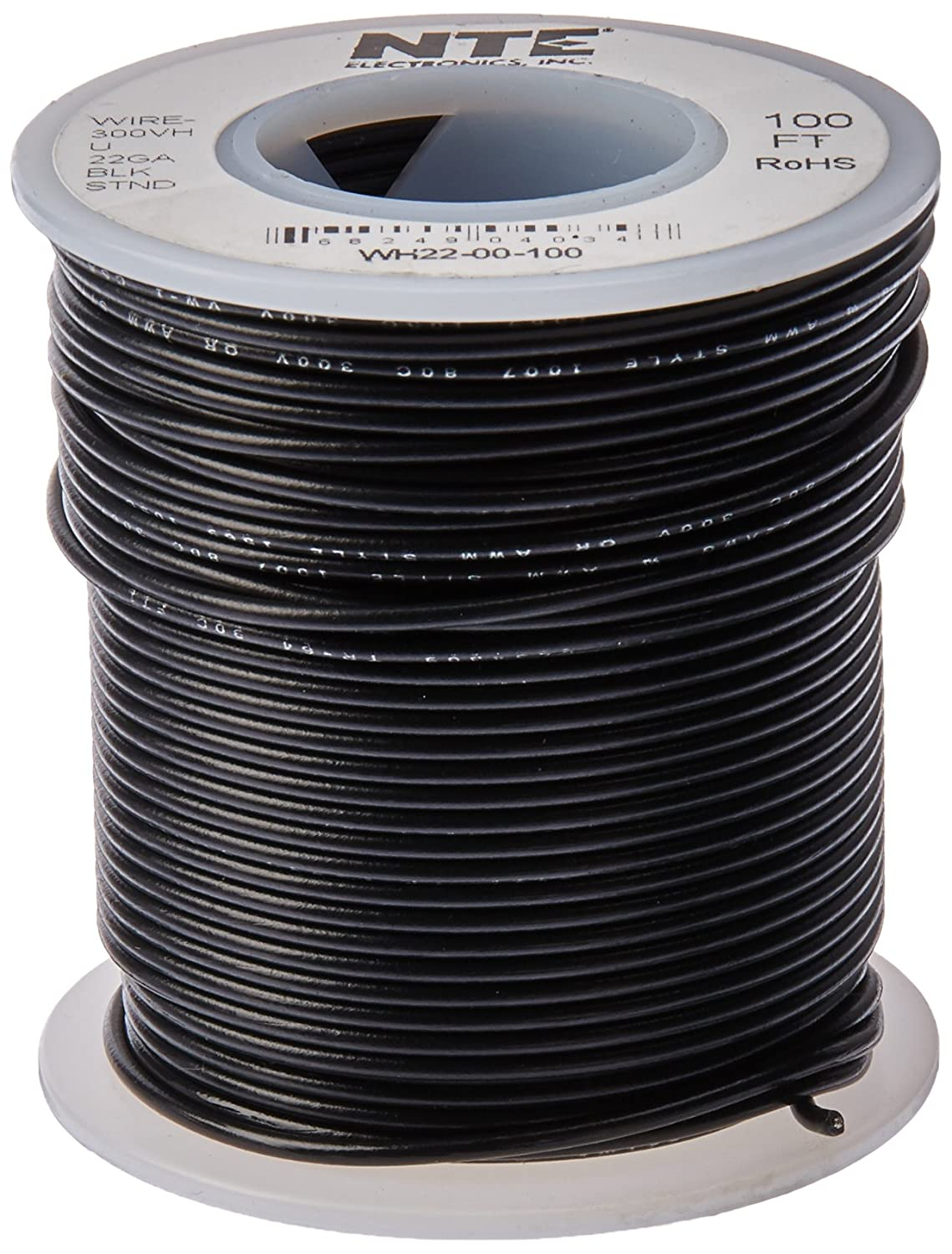 NTE Electronics WH22-00-100 Hook Up Wire, Stranded, Type 22 Gauge ...