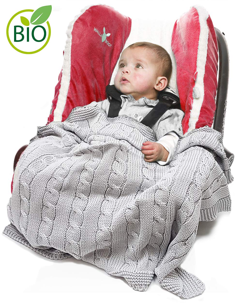 Ideal for Travel Color: Ecru Car Seat Crib 100/% Organic Cotton For Pram Wallaboo Baby Blanket Noa 35 x 28 inch Moses Basket Extra Soft Knitted Blanket 90 x 70 cm