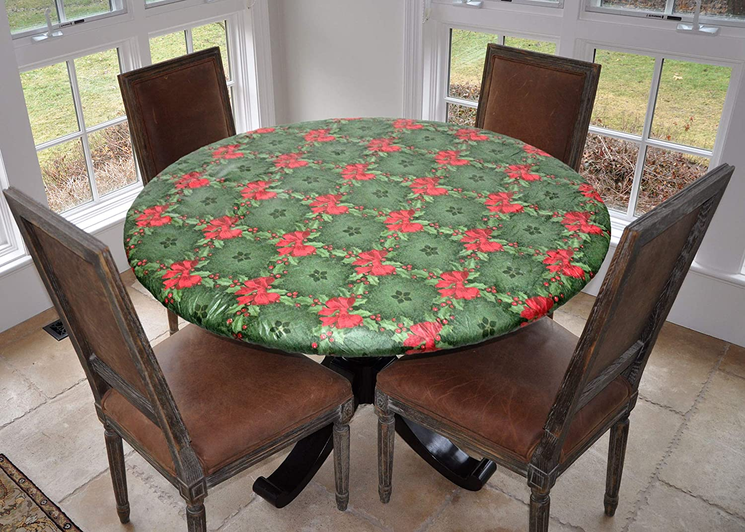 "Covers For The Home Deluxe Elastic Edged Flannel Backed Vinyl Fitted Table Cover - Holly Pattern - Large Round - Fits Tables up to 45"" - 56"" Diameter"