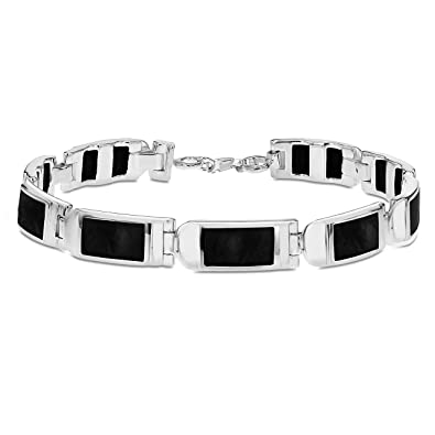 Tuscany Silver Sterling Silver Rectangle Onyx Bar Bracelet of 18cm/7 nkb61P0PW