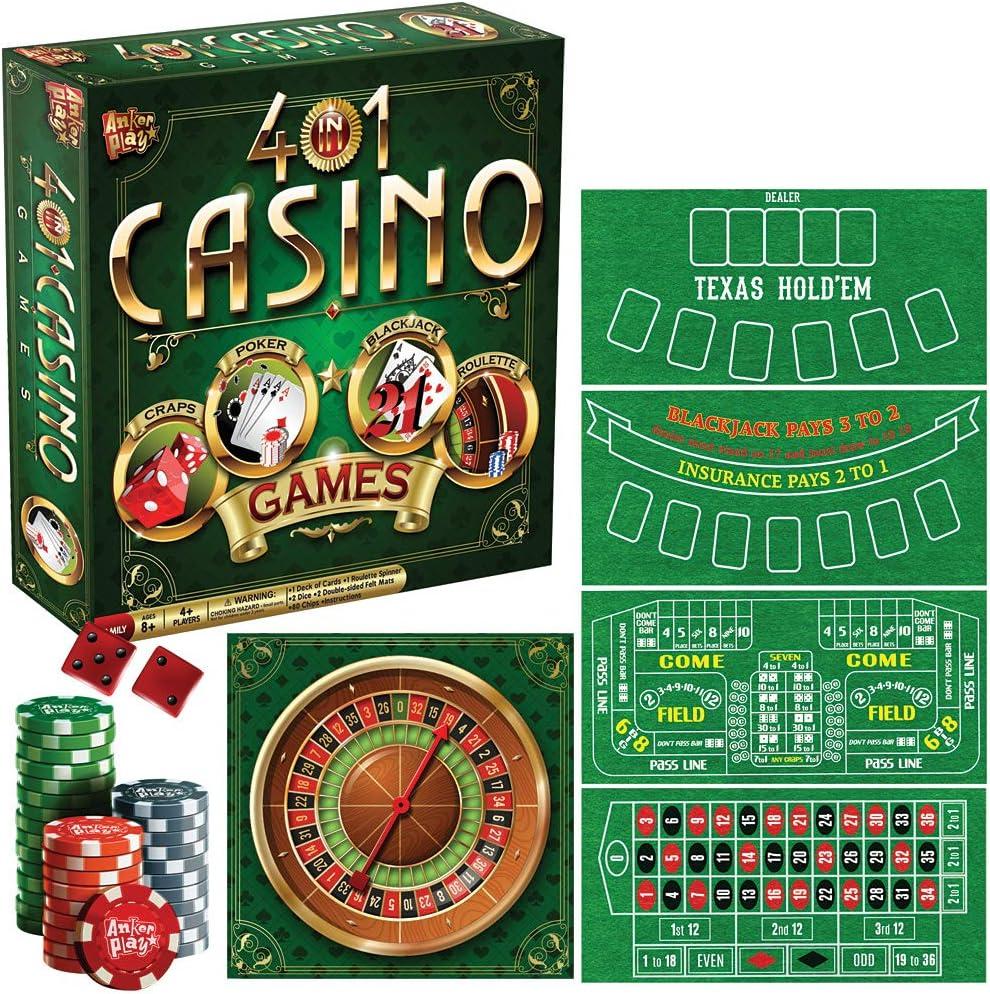 Craps Trademark Poker 4-in-1 Casino Game Table Roulette Poker Blackjack