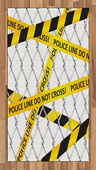 Amazon com: Police Area Rug by Ambesonne, Police Line Do Not