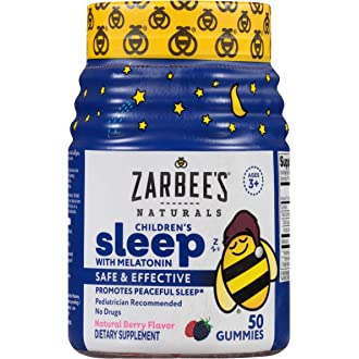 #3 Zarbees Naturals Childrens Sleep with Melatonin Supplement, Mixed Fruit Flavored Gummies for Natural, Restful
