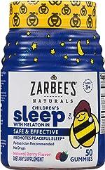 Zarbee's Naturals Children's Sleep with Melatonin Supplement, Natural Berry Flavored, 50