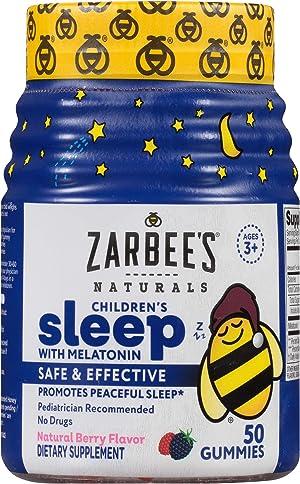Zarbee's Naturals Children's Sleep with Melatonin Supplement, Natural Berry Flavored, 50 Gummies
