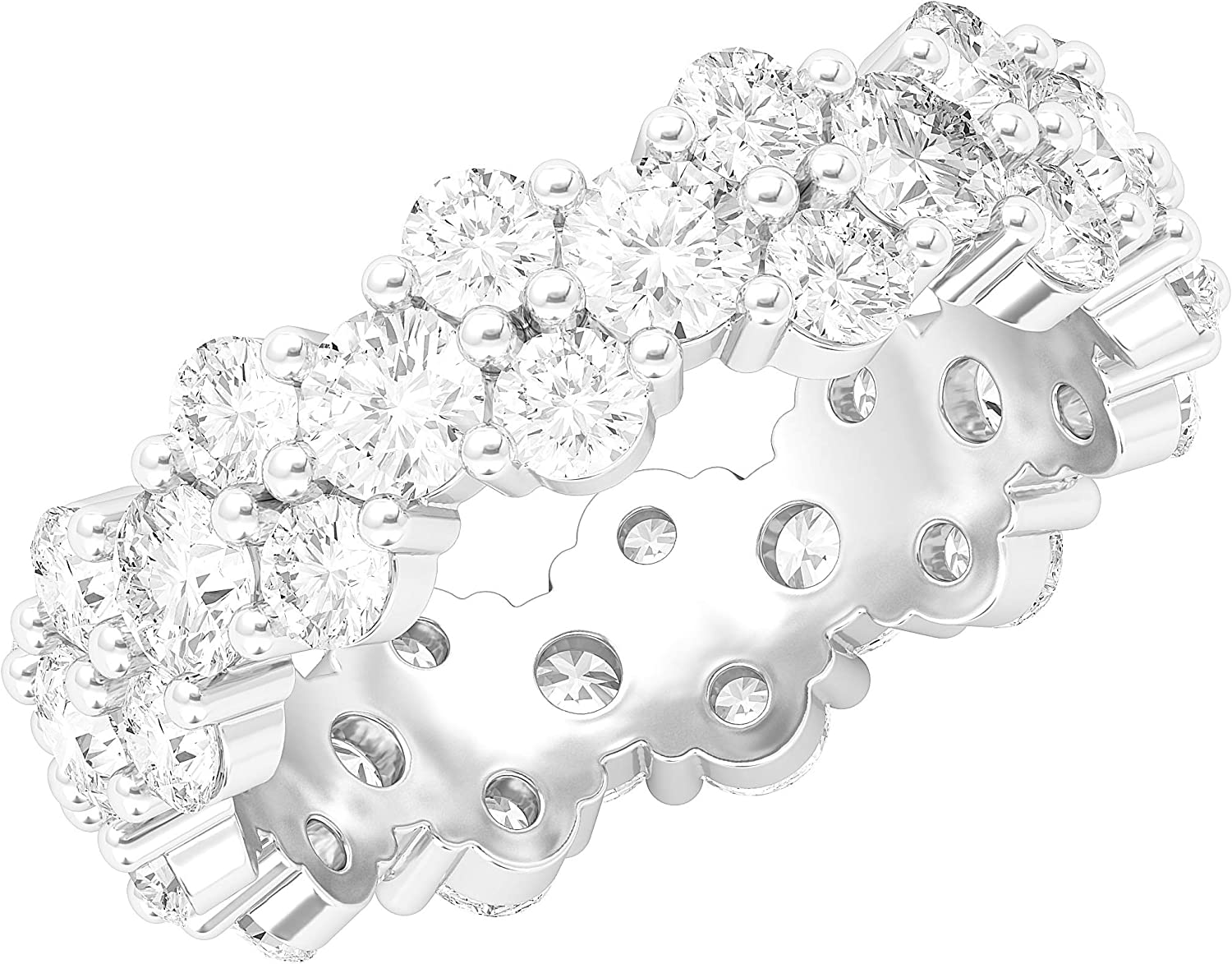 Sterling Silver Full Eternity Garland Ring Cluster with Simulated Diamond Wedding Ring For Women