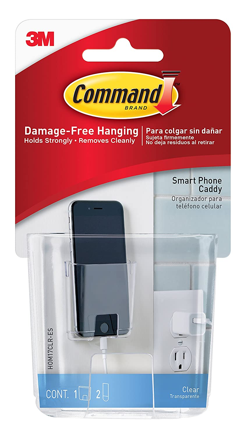 3M Command Smart Phone Station, Clear, 1-Caddy, 2-Pack