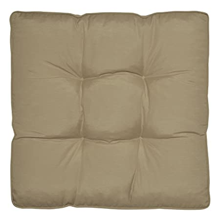 Waterproof Outdoor Chair Cushion Beige 60 X 60 X 10 Cm Seat Pad Water  Resistant Cover
