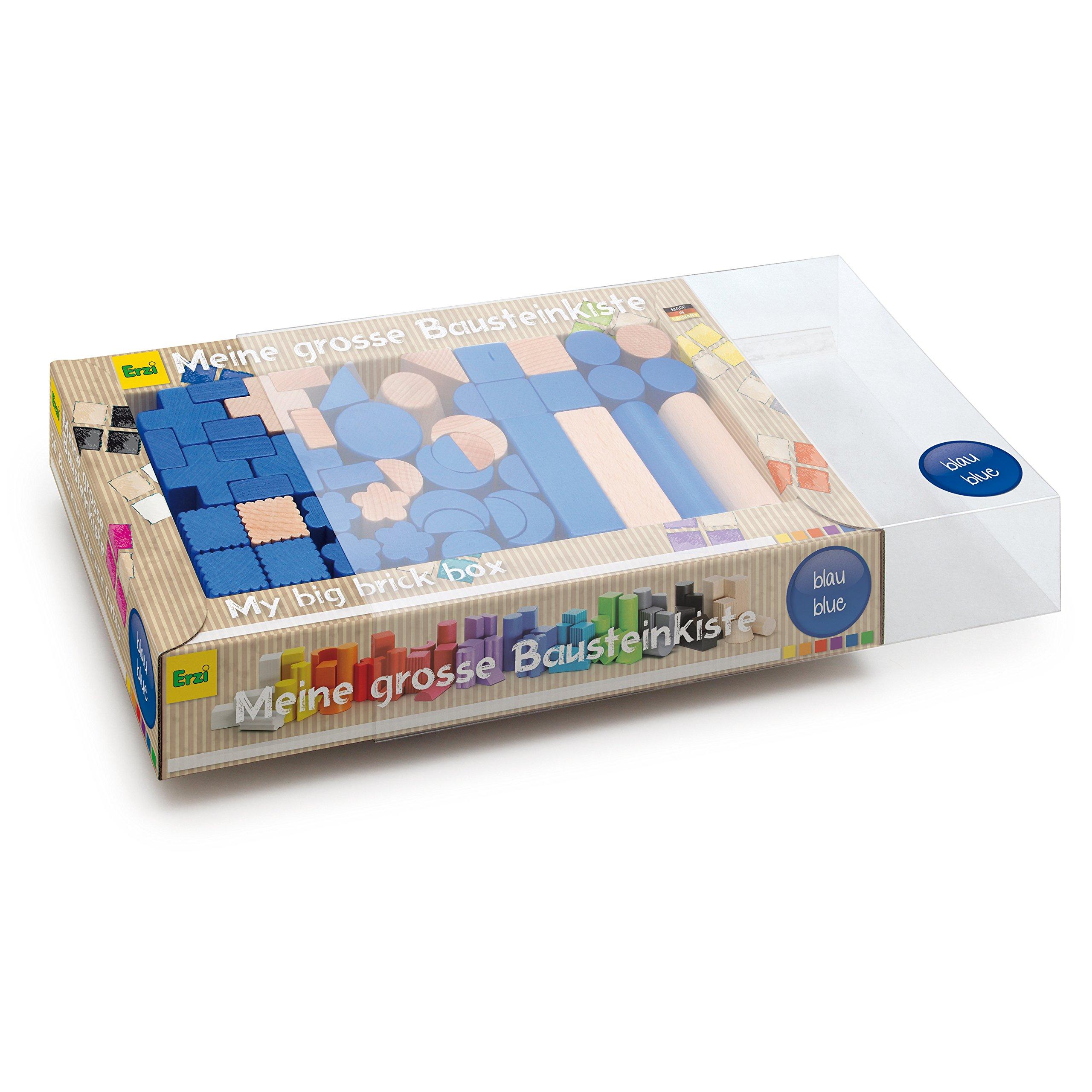 Erzi German Wooden Toy Building Blocks, 36 x 21 x 6.2cm, Blue