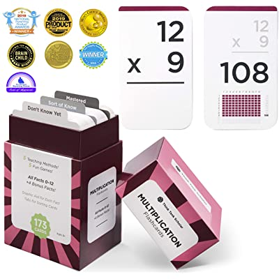 Think Tank Scholar 173 Multiplication Flash Cards | All Facts 0-12 Color Coded | Best for Kids in 3rd, 4th 5th & 6th Grade: Toys & Games