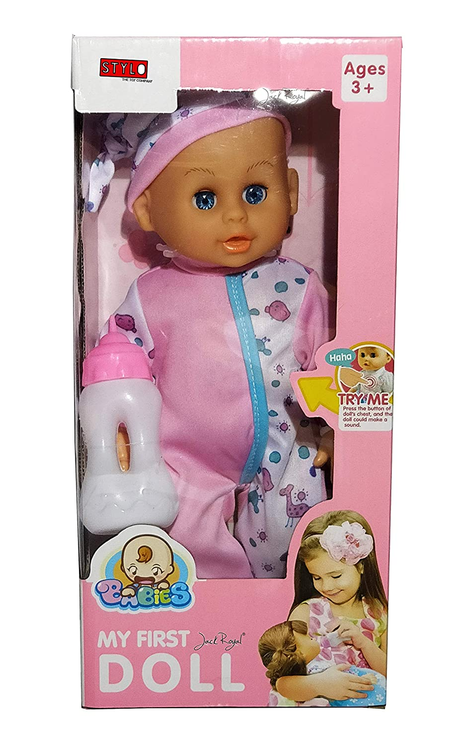 Buy jack royal new born baby doll set with cute kitten dress feeding bottle for the toy doll pink online at low prices in india amazon in