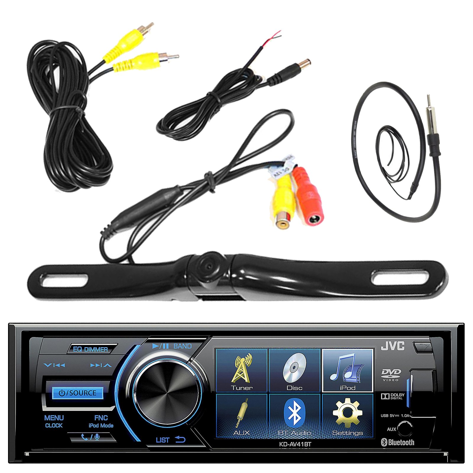 JVC KD-AV41BT 3'' Inch Display Car CD DVD USB Bluetooth Stereo Receiver Bundle Combo With License Plate Mount Rear View Colored Backup Parking Camera, Enrock 22'' AM/FM Radio Antenna