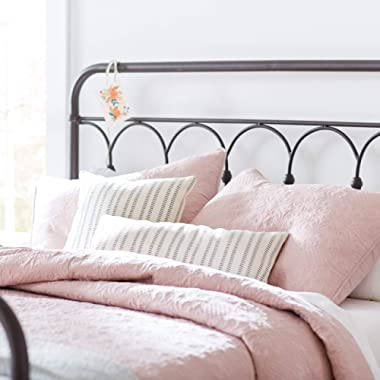 Stone & Beam Vintage-Inspired Floral Embroidery King Coverlet Set, Soft and Easy Care, 102 L X 90 W, Blush