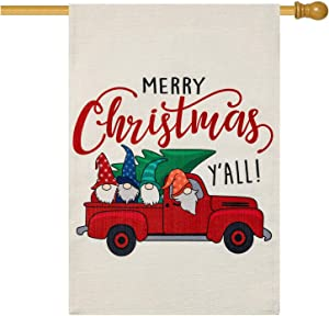 EKOREST Christmas Flag for Outdoors 28 x 40 Double Sided,Merry Christmas Christmas Decorations Outdoor Fall Gnomes Marry Christmas Yard Sign Xmas Outside Decor for Farmhouse Porch