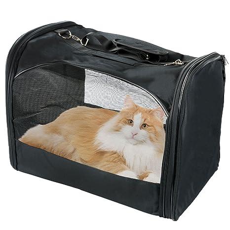 Plegable portátil pequeño perro de mascota gato Carrier Caja de tejido de malla lienzo con cremallera