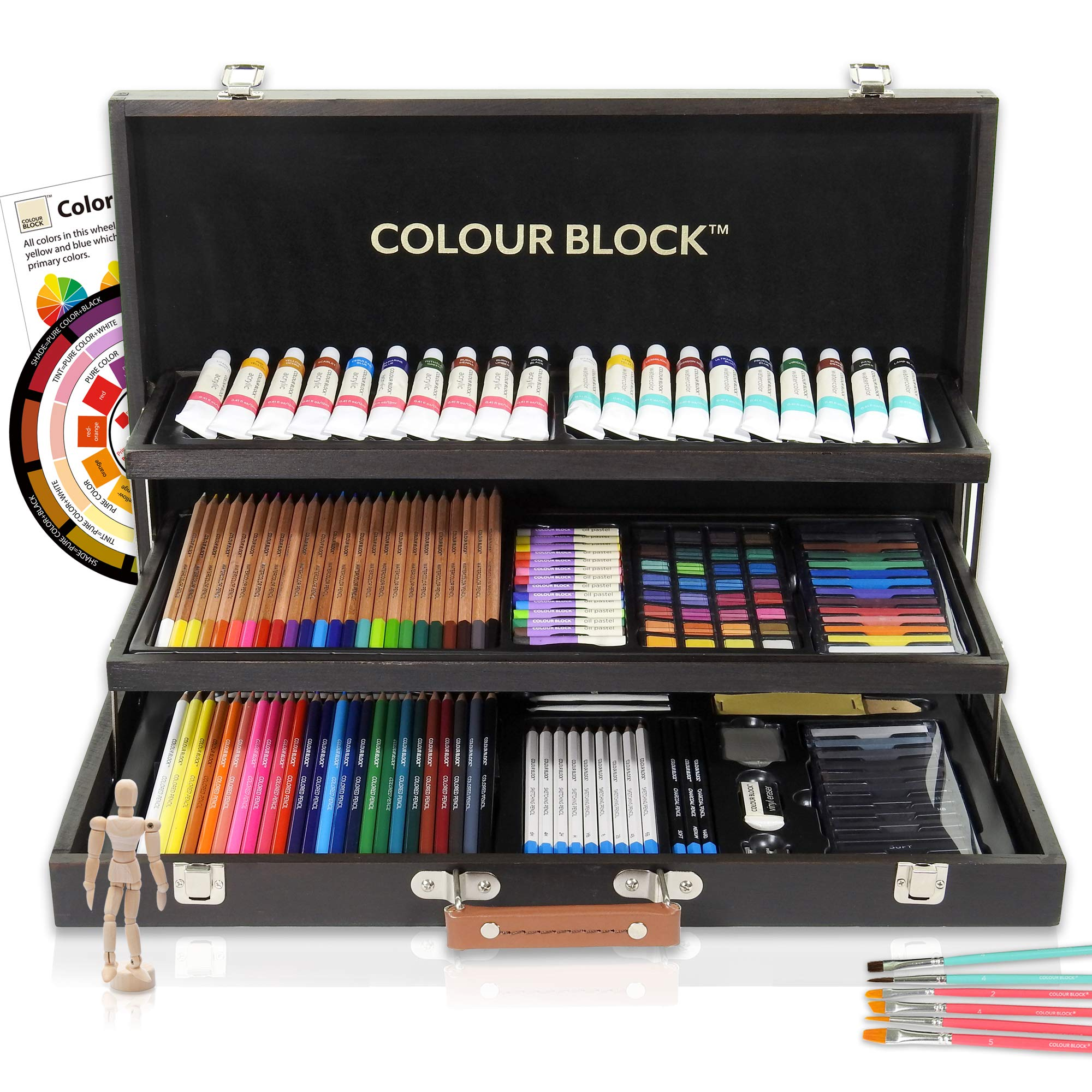 COLOUR BLOCK Deluxe 181 Piece Mixed Media Art Set in Wooden Case, with Soft & Oil Pastels, Acrylic & Watercolor Paints, Water Color, Sketching, Charcoal & Colored Pencils, Watercolor Cakes and Tools by COLOUR BLOCK