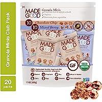 MadeGood Granola Minis Club Pack (20 ct, 0.85 oz. each); 10 Bags Chocolate Chip and 10 Bags Mixed Berry Granola Minis; Vegan, Gluten-Free, Allergy-Friendly, Organic, Non-GMO Snacks