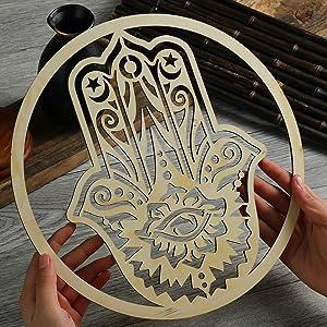 Hamsa Wall Art, Evil Eye Protection , Hamsa Hand Home wall Decor, Ethnic Decor, Housewarming Gift, The Hand of Fatima for Good Luck, Fortune, Happiness
