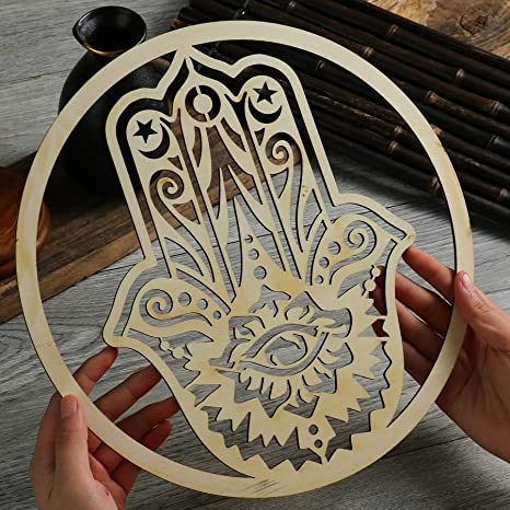 DharmaObjects Handcrafted Hamsa Hand Of Fatima Home Blessing Protection Wooden