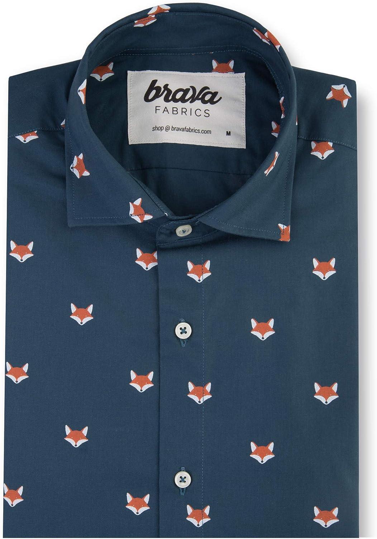 Brava Fabrics | Camisa Hombre Manga Larga Estampada | Camisa Azul para Hombre | Camisa Casual Regular Fit | 100% Algodón | Modelo Fox In The Snow: Amazon.es: Ropa y accesorios
