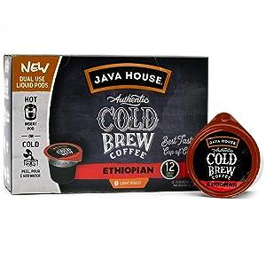 Java House Cold Brew Coffee Concentrate Single Serve Liquid Pods - 1.35 Fluid Ounces Each (Ethiopian, 12 Count)