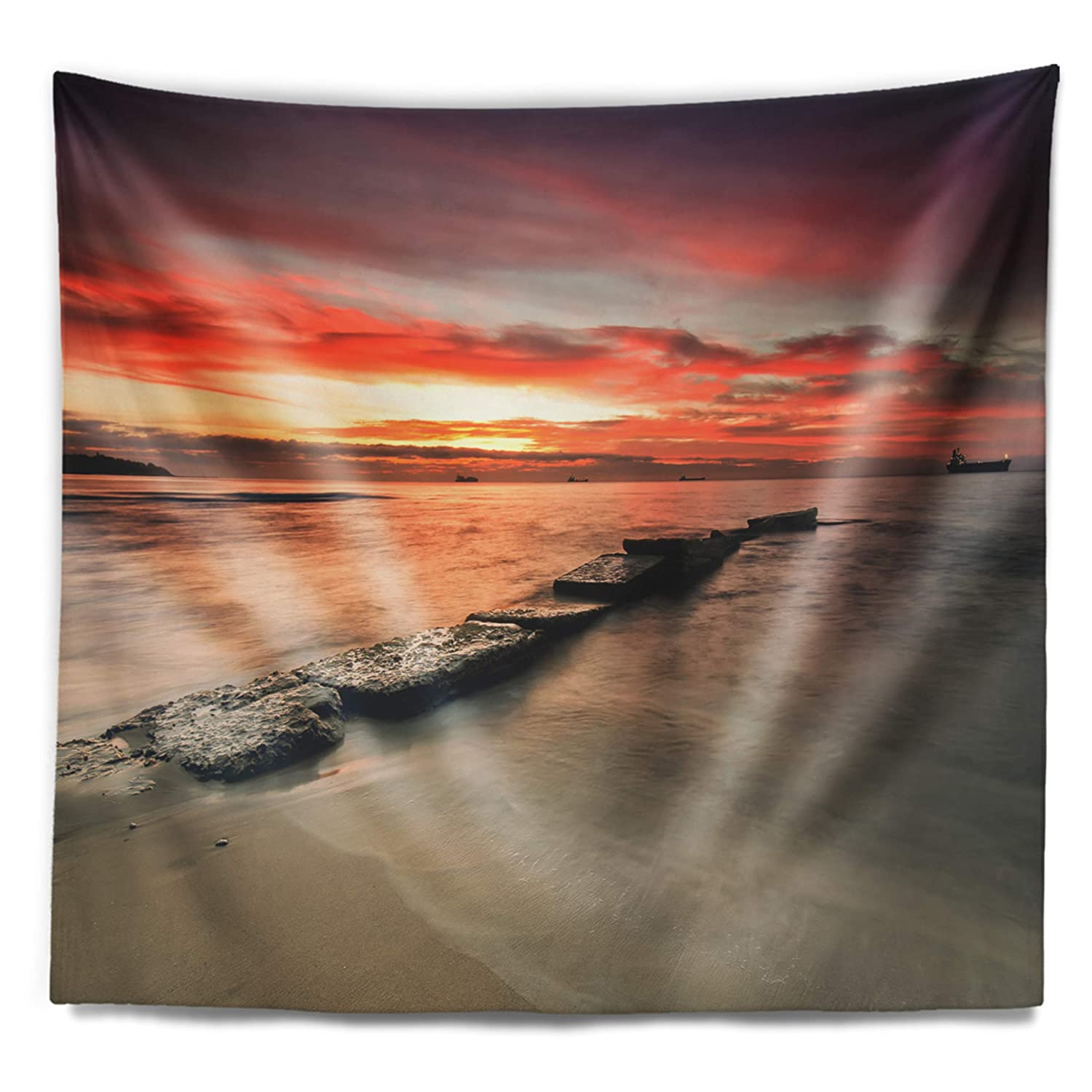 in x 68 in Designart TAP10637-80-68  Wonderful Sunrise on Black Ocean Beach Photo Blanket D/écor Art for Home and Office Wall Tapestry x Large 80 in