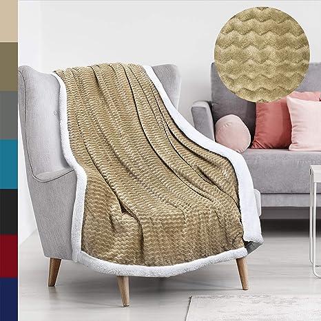Tirrinia Super Soft Sherpa Throw Blanket Chevron 50 X 60 Reversible Fuzzy Micro Plush All Season Fleece Tv Blanket For Bed Or Couch Mocha Home Kitchen