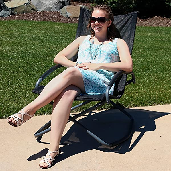 Sunnydaze Outdoor Folding Rocking Lounge Chair, Portable Patio and Lawn Rocker, Black