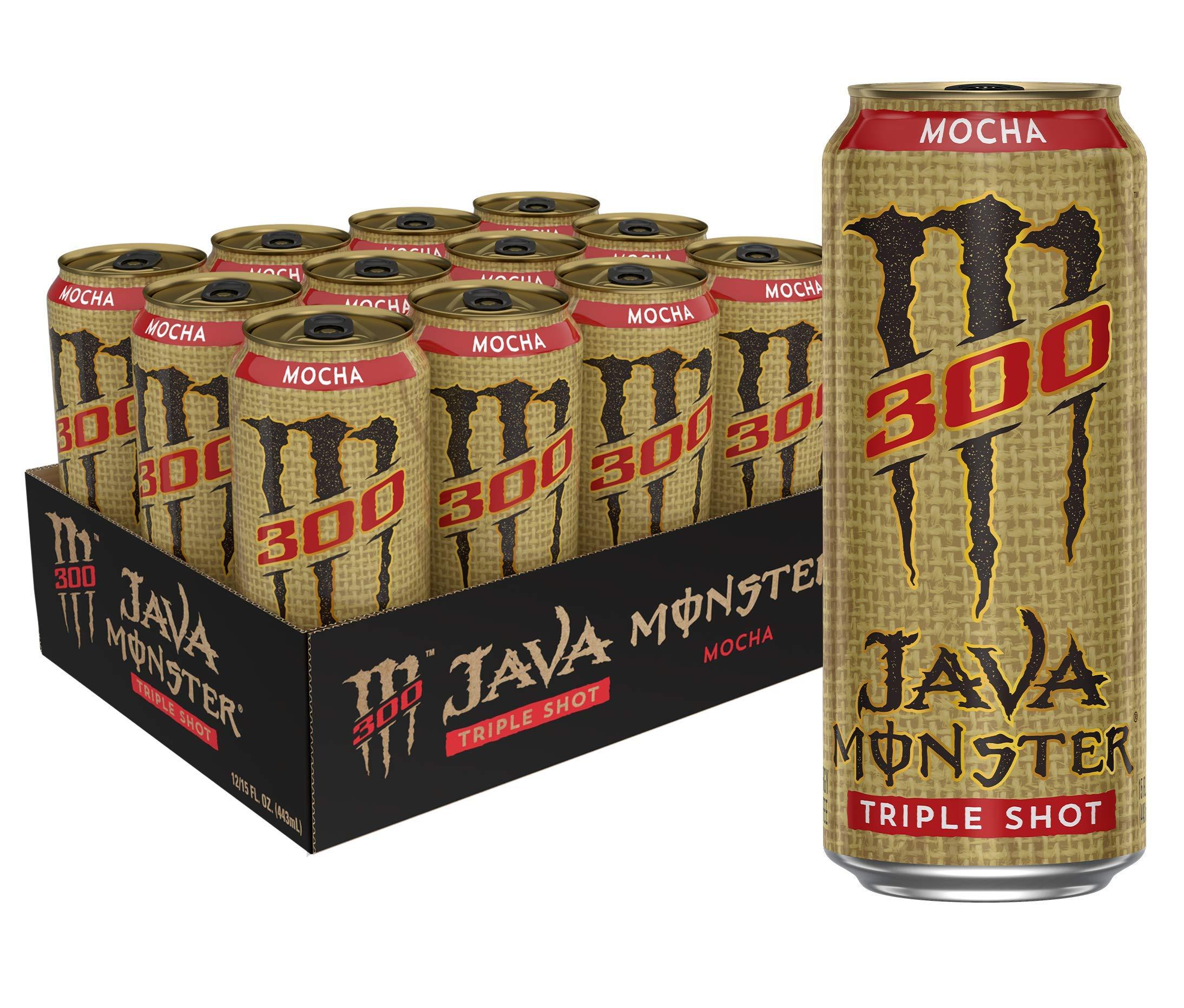 Monster Energy Java 300 Triple Shot Robust Coffee + Cream 15 Oz Pack, Mocha, 180 Fl Oz, Pack of 12
