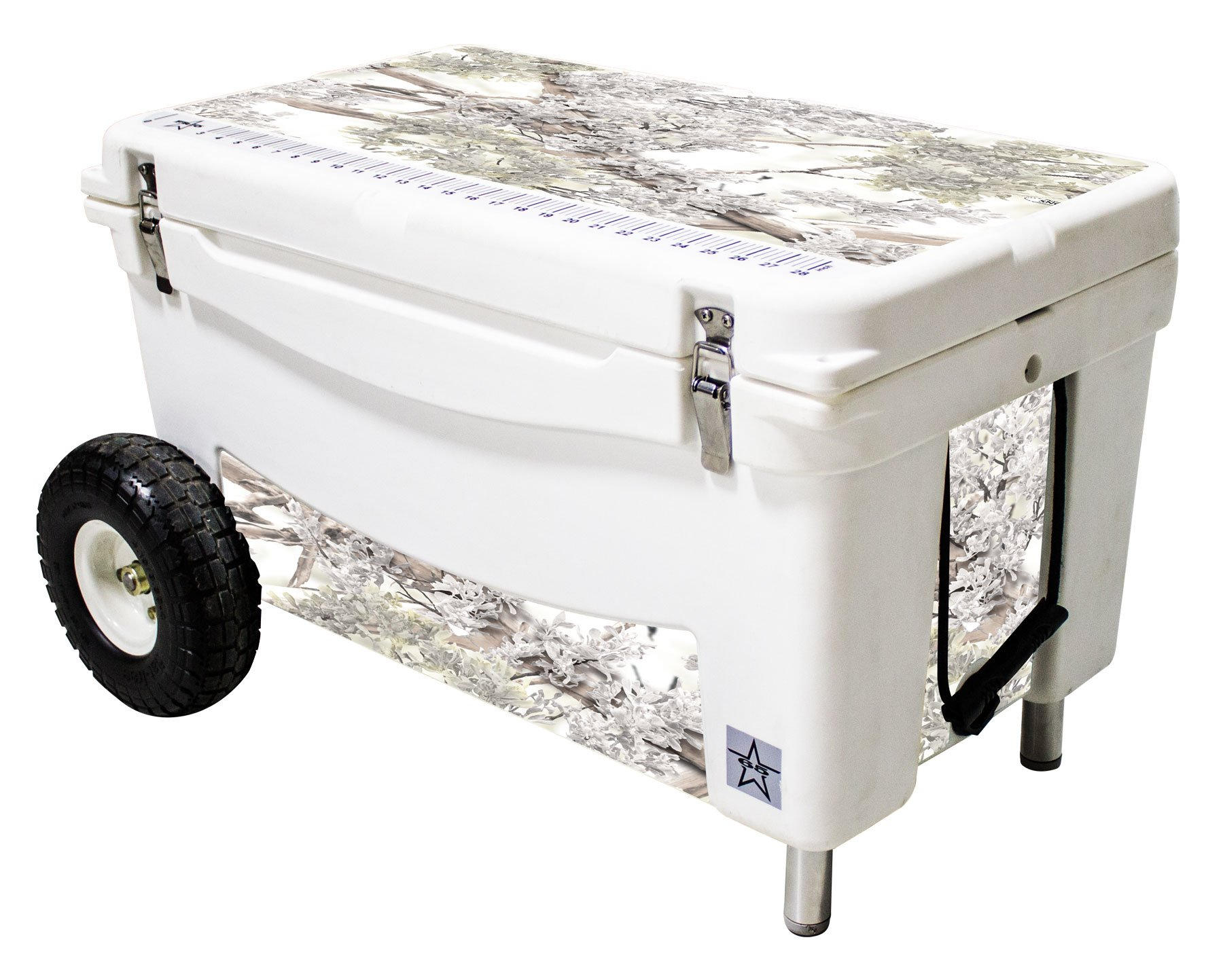 Frio Ice Chests 65Qt Extreme Wheeled White Hard Side with King's Camo Snow Theme Vinyl Wrap and Built-in Motion Sensitive Light Bar with Bottle Openers by Frio Ice Chests