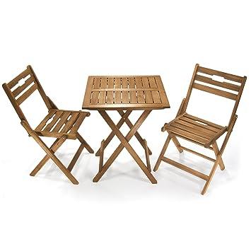 Jom 127320 - conjunto mesa y 2 sillas, madera de acacia engrasada, mesa de dimensiones 60 x 60 x 72 cm, 45 x silla de 85 x 35,5 cm, plegable