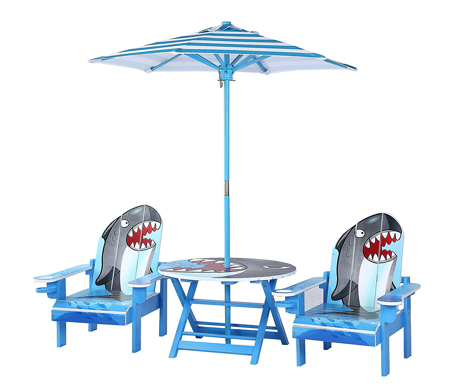 Pleasant Okids Shark Table And Adirondack Chair Set With Umbrella Ocoug Best Dining Table And Chair Ideas Images Ocougorg