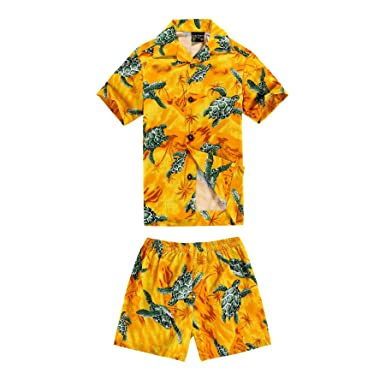 9788440aa55f Aloha Fashion Boy Hawaiian Shirt and Shorts 2 Piece Cabana Set in Yellow  with Green Sea