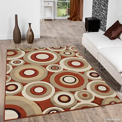 Allstar 8×11 Rust Modern and Contemporary Hand Carved Rectangular Accent Rug with Ivory, Mocha and Espresso Randomly Plotted Circle Design 7 1 x 10 5