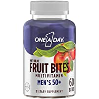 One A Day Men's 50+ Natural Fruit Bites Multivitamin with Immune Health Support*, 60 Count (1 Month Supply), Gluten Free Vitamins for Men with Vitamin A, Vitamin D, Vitamin E, B6, B12, Zinc & More