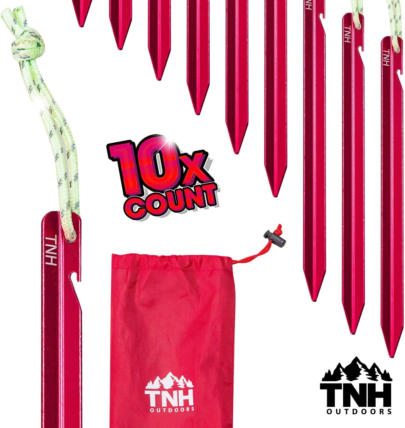 TNH Outdoors 8X Aluminum Tri-Beam Tent Stakes