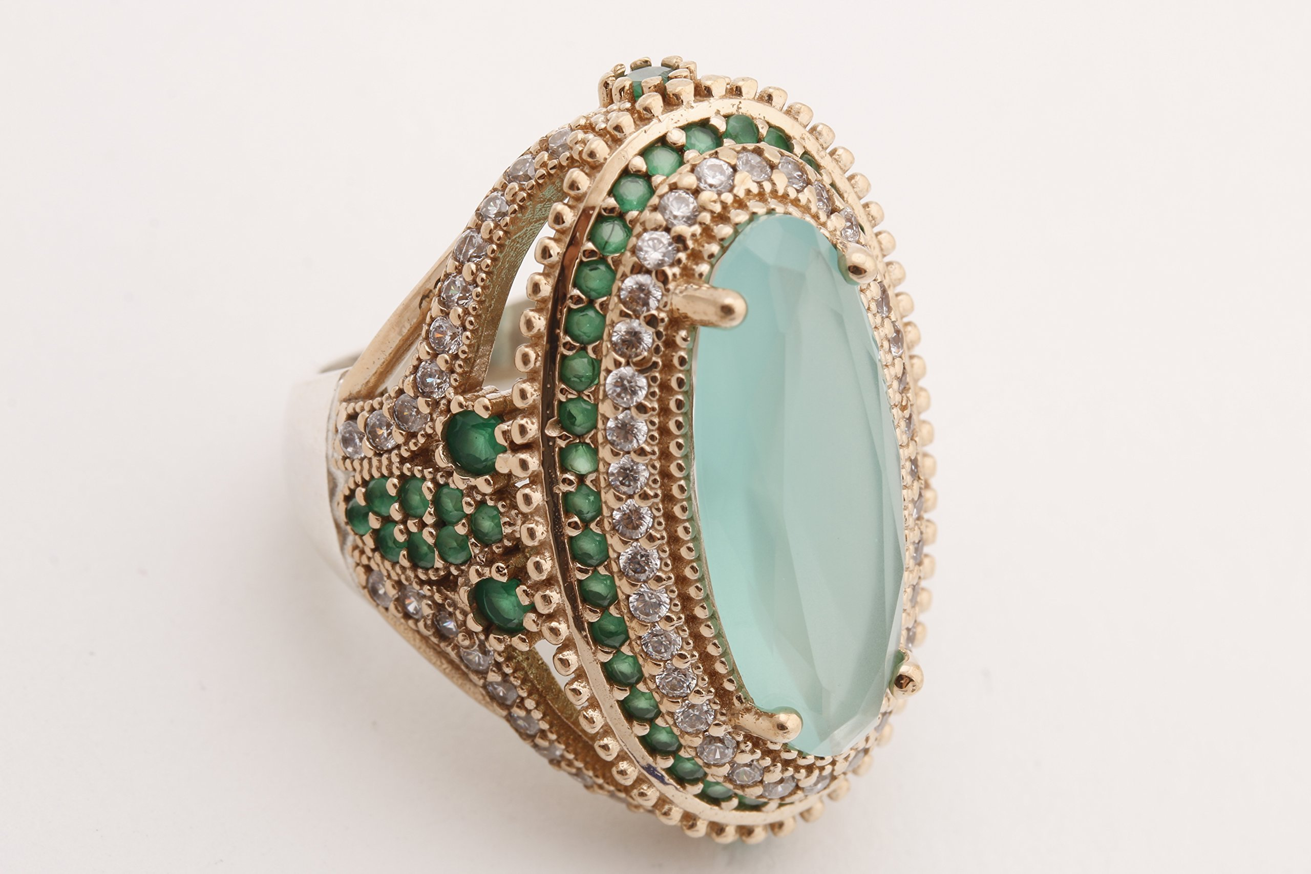 Turkish Handmade Jewelry Long Oval Shape Aquamarine and Round Cut Emerald Topaz 925 Sterling Silver Ring Size All