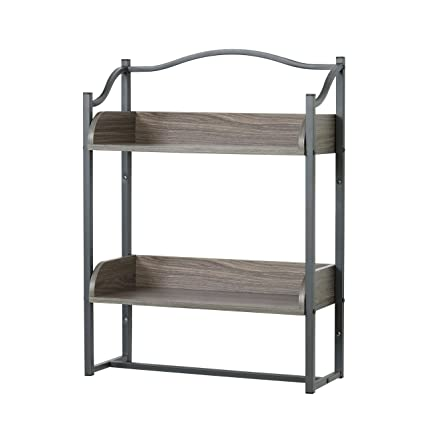 Perfect Zenna Home 8712GY 2 Tier Metal Bathroom Wall Shelf, Driftwood Grey/Pewter