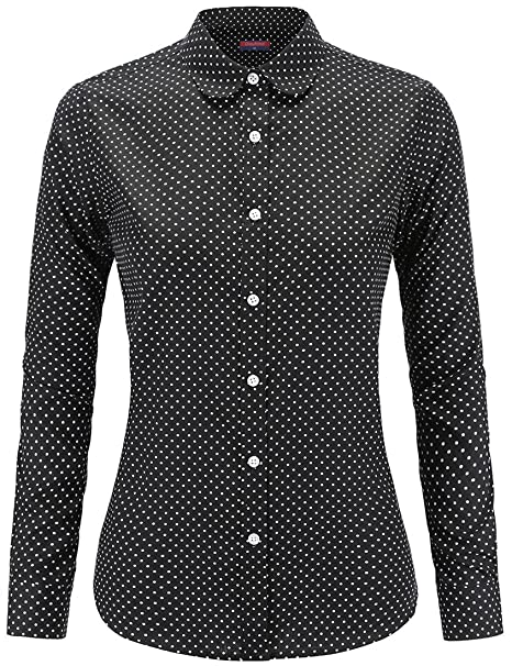 c182757c5 Amazon.com: Dioufond Women's Polka Dot Button Down Shirt Long Sleeve Casual  Tops(3XL Black1): Clothing