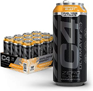 C4 Ultimate Sugar Free Sparkling Energy Drink Tropical Blast   16oz (Pack Of 12)   Pre Workout performance drink with No Artificial Colors or Dyes
