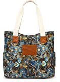Malirona Canvas Beach Bags and Totes for Women Zippered Beach Shoulder Bag, Black Flower (Black Flower) - KJ015