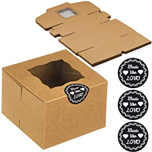 CreekCove 4.5 x 4.5 x 3 in. Bakery Boxes, 25 Pack Kraft Pastry Box with Window - Rustic Favor Treat Container Cookie Boxes Macaron and Individual Cupcakes, with 25